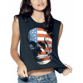 New Summer Style Women Sexy Tops Skull American Flag Printed Round Neck Sleeveless Vintage Fitness Casual Tank Tops Soft Tank