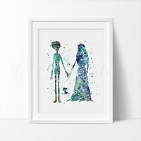 Tim Burton's Corpse Bride Watercolor Art Print