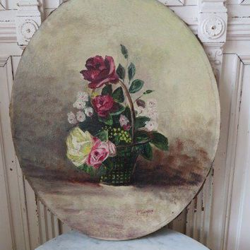 BEAUTIFUL Old OVAL OIL PAINTING on Canvas BASKET of ROSES & FLOWERS