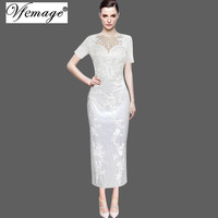 Vfemage Women Elegant Embroidered Mesh Satin Evening Party Special Occasion Bridemaid Mother of Bride Long Embroidery Dress 3559