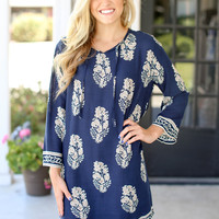 Blue My Mind Shift Dress - Navy