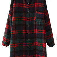 Plaid Full Buttoned Lapel Coat