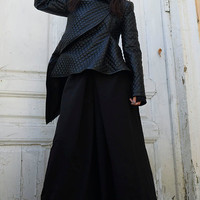 Asymmetrical Short Coat/Black Pattern Leather Jacket/Winter Warm Extravagant Black Coat/Black Short Coat/Extravagant Leather Cardigan