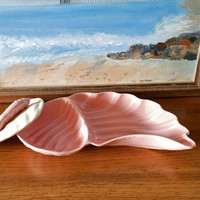 California Pottery Pink Shell Dish, Pink Hostess Dish, Mid Century Ashtray, Shell Candy Dish, Stash Box, Pink Weed Ashtray, Trinket Dish