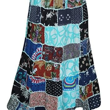 Womens Indian Peasant Skirts Printed Patchwork Maxi Skirts L