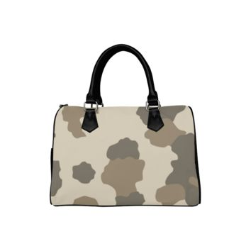 Personalized Women Bag Classic Brown Camouflage Boston Top Handbag