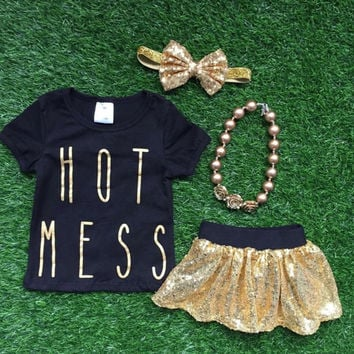 Hot Mess Shirt, Girls Hot Mess Shirt, Toddler Hot Mess Shirt, Baby Girl Hot Mess Shirt, Hot Mess Outfit, Toddler Clothes, Sequin Skirt, Gold