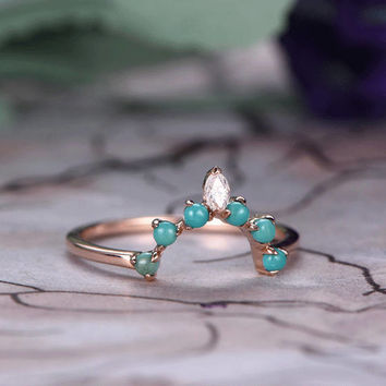 Turquoise and Moissanite matching band/14k white gold/Wedding ring/Marquise Stacking wedding band/Green Birthstone/Curved Anniversay ring