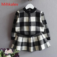 Mihkalev 2018 autumn winter children clothes set for girl clothing sets tops skirts girls 2pcs sport suit kids tracksuit outfit