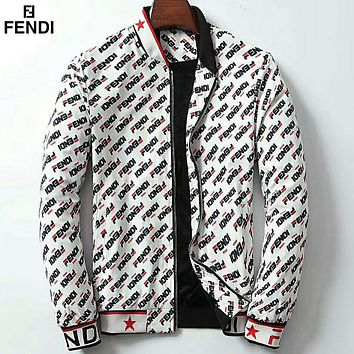 Fendi autumn and winter new men's full printed logo trend fashion loose jacket White
