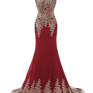 Topwedding Women's Mermaid Gold Lace Embroidery Burgundy Prom Dress Evening Gown