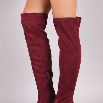 Suede Faux Pearl Heeled Over-The-Knee Boots