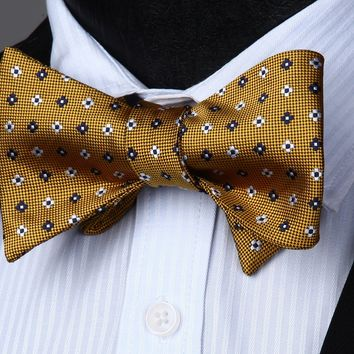 Gold White Flower Silk Self Tie Bow Pocket Square