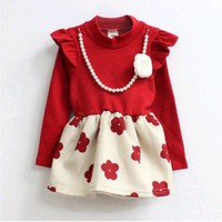 Buy Online Red and White Baby Girl Formal Dress with Floral Print