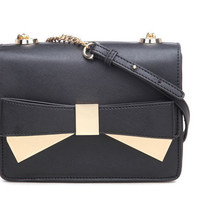 Metal-Tipped Bow Crossbody Messenger Bag