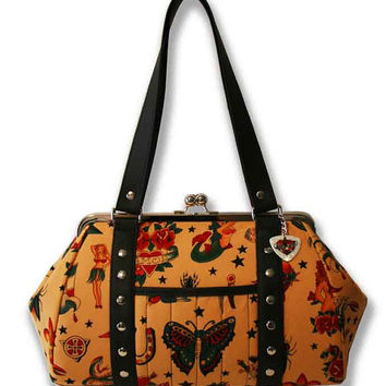 Tan Tattoo Handbag with Your Choice of Vinyl Trim, Rockabilly Purse - MADE TO ORDER