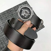 VERSACE Trending Men Women Stylish Diamond Buckle Leather Belt