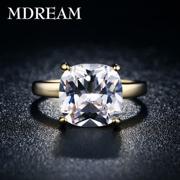 8 18kgp gold filled ring with 4 Carat CZ Diamond for women fashionable wedding jewelry ring size 7,8,9