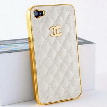 Small Gold CC Logo Cell phone / Hard Cases / White Leather  iPhone Cases / iPhone 5 Case / iphone 4 Case / iPhone 4s case