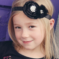 Black Flower Headband - Christmas Headband Photo Prop for Baby - Black Sparkle Head Band for Girl - Satin Flower Head Band Picture Prop
