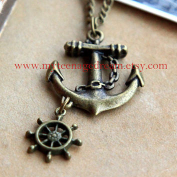sailor anchor and ship wheel necklace by MyTeenageDream on Etsy