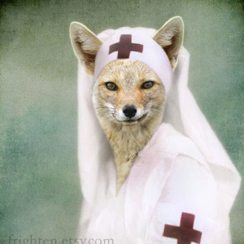 Teal Green and White Fox Art Print Nurse Foxy Altered by frighten