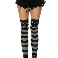 The Striped Cat Print Tights in Black & Grey