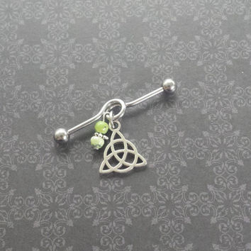 Trinity Knot Celtic - African Jade - Industrial Barbell Scaffold Piercing 14G