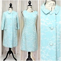 Gorgeous 60s silk brocade dress and coat / Vintage 1960s Opera Coat / Formal / Two piece dress suit / Size 10 / 12