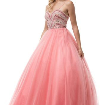 Beaded bodice pink quinceanera dress BC#YD1017