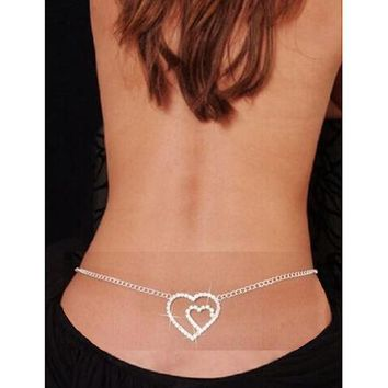 2016 Free Shipping Love Heart Summer Belly Ring Belly Navel Chain Body Piercing Jewelry Long Tassels Crystal Body Chains