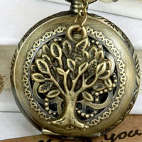 Retro hollow style Pocket watch Locket Necklace by qizhouhuang