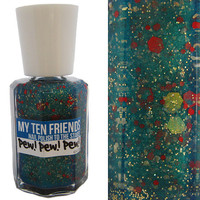 Pew Pew Pew Nail Polish - Green With Blue Base, Red and Gold - Handblended Glittery Nail Color