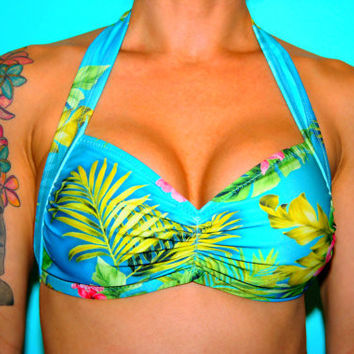 Blue Hawaii Tropical Floral Halter Swim Top | Get Go Retro
