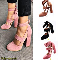 Fashion Selling Big Size Women's Shoes with Rough heels, High heels, Laces and Big Size Sandals