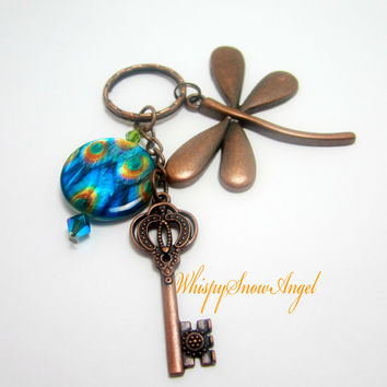 Dragonfly Keychain Peacock Blue Beads Copper Key Charms Beautiful