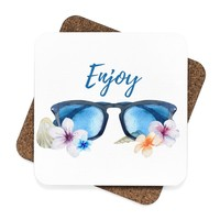 Beach Sunglasses Square Hardboard Coaster Set - 4pcs, Enjoy Drink Coasters