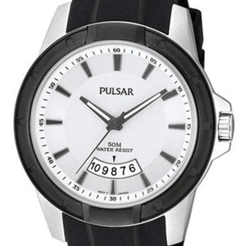 Pulsar Mens On the Go Collection Date Watch - Black Ion & Steel - Rubber Strap