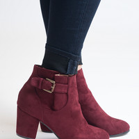 Wine Down Suede Booties