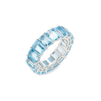 Emerald Cut Blue Topaz Eternity Band Ring