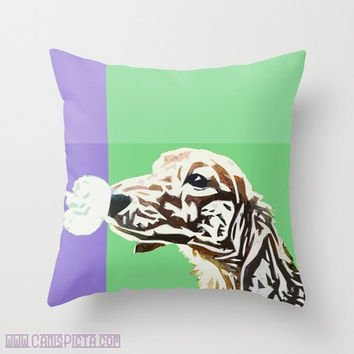 "Dachshund, Pet Graphic Print 16"" x 16"" Throw Pillow Cover - Couch Art, Periwinkle, Blue, Mint, Green, Dandilion, Puppy, Love, Doggy"