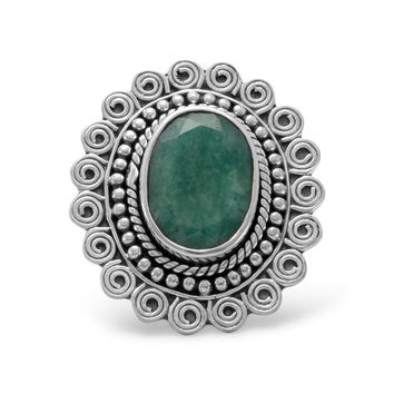 "Oval ""Emerald"" Ring With Oxidized Sterling Silver Scroll Design"