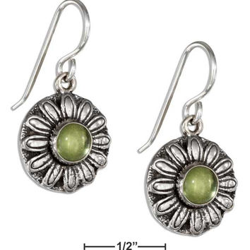 STERLING SILVER 14MM ANTIQUED DAISY PERIDOT EARRINGS ON FRENCH WIRES