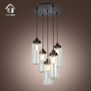 UNITARY BRAND Vintage Glass Mason Jar Pendant Light Max 300W With 5 Lights Painted Finish