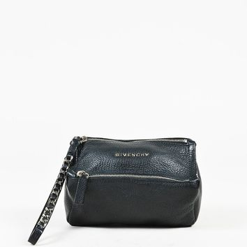 "Givenchy Black Grained Goatskin Leather ""Pandora Wristlet"" Bag"