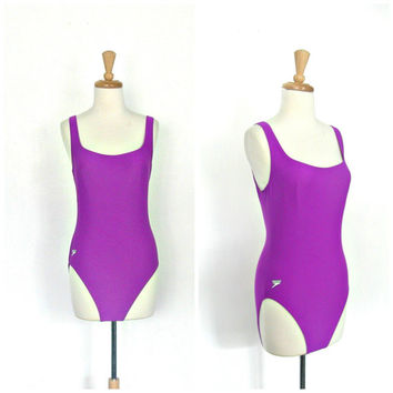 Vintage Speedo Swimsuit / 90s swimwear / maillot / one piece swimsuit / baywatch swimsuit / purple bathing suit /  Medium