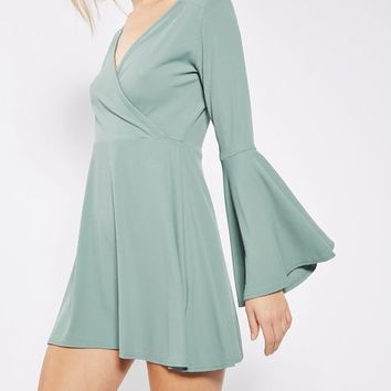 PETITE Wrap Front Dress