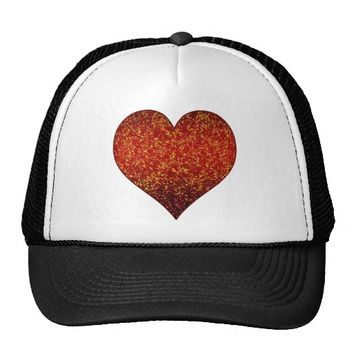 Hat Glitter Graphic Heart Red