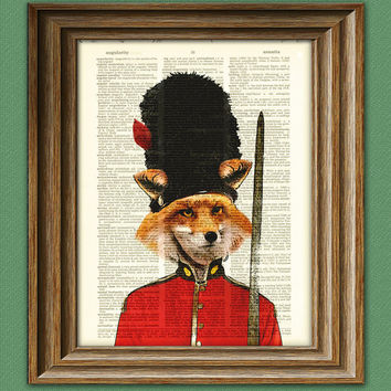 Red Fox British Palace Guard illustration beautifully upcycled dictionary page book art print