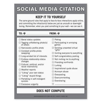 Social Media Citation Nifty Notes - Whimsical & Unique Gift Ideas for the Coolest Gift Givers